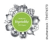 vector frame with vegetables .... | Shutterstock .eps vector #754576573