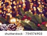 christmas decoration on dark... | Shutterstock . vector #754576903