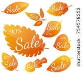 set of autumn yellow red leaves ... | Shutterstock .eps vector #754578253