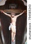 ancient wooden statue of... | Shutterstock . vector #754585243