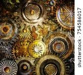 metallic gears background | Shutterstock . vector #754586017