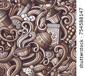 cartoon hand drawn doodles on... | Shutterstock .eps vector #754588147