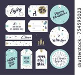 christmas and new year gift... | Shutterstock .eps vector #754595023