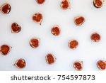 pattern of sliced ripe figs... | Shutterstock . vector #754597873