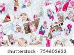 collage children winter photo....   Shutterstock . vector #754603633