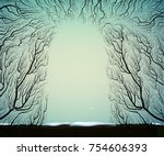 way to the deep fairy frosty... | Shutterstock .eps vector #754606393