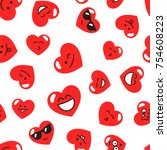 pattern with red hearts with... | Shutterstock .eps vector #754608223