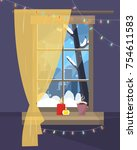 christmas window with winter... | Shutterstock .eps vector #754611583