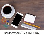 top view of cup of coffee with... | Shutterstock . vector #754613407