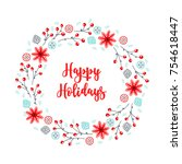 christmas wreath with berries ...   Shutterstock .eps vector #754618447