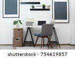 beautiful interior of modern... | Shutterstock . vector #754619857