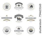 camping logos templates vector... | Shutterstock .eps vector #754623163