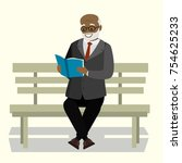 happy old man or grandfather... | Shutterstock .eps vector #754625233
