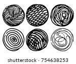 set of textural circles. set of ... | Shutterstock .eps vector #754638253
