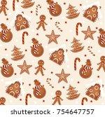 christmas vector pattern | Shutterstock .eps vector #754647757