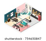 isometric interior house rooms... | Shutterstock .eps vector #754650847