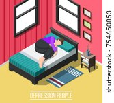 depression people isometric...   Shutterstock .eps vector #754650853