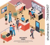 isometric security system... | Shutterstock .eps vector #754650907