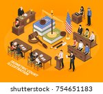 court hearing isometric vector... | Shutterstock .eps vector #754651183