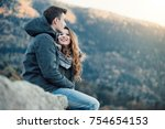 romantic young couple dating in ... | Shutterstock . vector #754654153