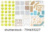 set of park elements.  top view ... | Shutterstock .eps vector #754655227