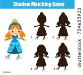 shadow matching game for... | Shutterstock .eps vector #754655923