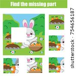 puzzle for toddlers. matching... | Shutterstock .eps vector #754656187