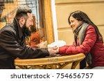 happy couple in love enjoying... | Shutterstock . vector #754656757