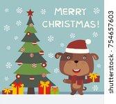 merry christmas  cute puppy dog ... | Shutterstock .eps vector #754657603
