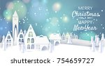 merry christmas and happy new... | Shutterstock .eps vector #754659727