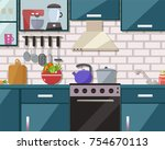 kitchen interior with furniture ... | Shutterstock .eps vector #754670113