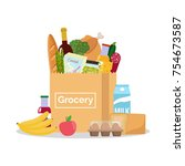 paper bag with fresh organic... | Shutterstock .eps vector #754673587