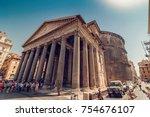 rome  italy   august 10  2017 ... | Shutterstock . vector #754676107