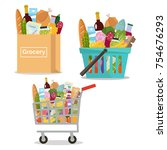 grocery in a paper bag  in a...   Shutterstock .eps vector #754676293