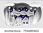 happy new year. winter forest. ... | Shutterstock .eps vector #754680463