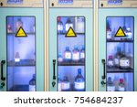 chemical storage cabinets with... | Shutterstock . vector #754684237