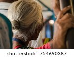 an old lady | Shutterstock . vector #754690387
