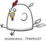 crazy happy fat chicken cartoon ... | Shutterstock .eps vector #754694107