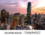 beautiful sunset cityscape... | Shutterstock . vector #754694527