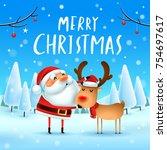 merry christmas  santa claus...   Shutterstock .eps vector #754697617