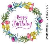 wildflower thistle flower...   Shutterstock . vector #754699477