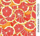 ripe juicy tropical grapefruit... | Shutterstock .eps vector #754702123