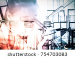 scientist with equipment and... | Shutterstock . vector #754703083