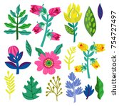 floral vector hand drawn set. | Shutterstock .eps vector #754727497
