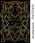 vintage linear border.... | Shutterstock .eps vector #754727653
