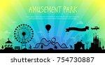 amusement park   modern vector... | Shutterstock .eps vector #754730887