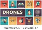 drones   set of flat design...   Shutterstock .eps vector #754733317