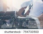 double exposure  businessman... | Shutterstock . vector #754733503