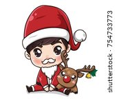 Cute Little Boy In Santa Claus...