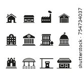 city life icon set | Shutterstock .eps vector #754734037